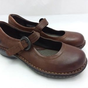 Born Brown Leather MaryJanes Slip On Shoes